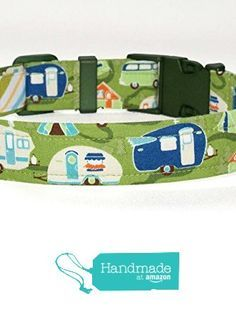 Camping Dog Collar - Green With RV Campers - 4 Sizes - Optional Key Fob Strap - Camping Accessories from Green Acorn Kitchen