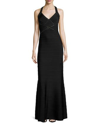 Open-Back+Grommet+Fit-&-Flare+Gown,+Black/Combo+by+Herve+Leger+at+Bergdorf+Goodman.