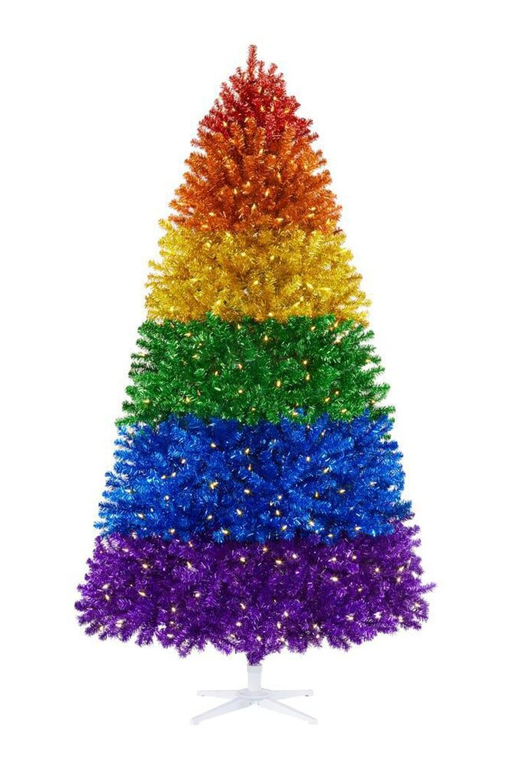 Home Depot Is Selling A Rainbow Colored Christmas Tree Because Why Settle For Plain Green In 2020 Rainbow Christmas Tree Home Depot Christmas Decorations Colorful Christmas Tree