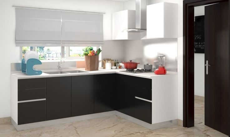 Decorations, Simple Black L Shaped Kitchen Cabinet With White Frame Modern Kitchen Hood White Kitchen Window Over Sink Kitchen Sink With Double Bowl White Roman Blind Brown Marble Floor: Enchanting and Charming L Shaped Kitchen Design Ideas to Motivate You