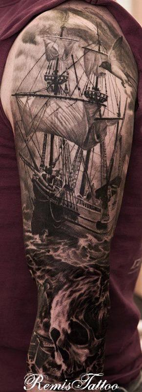 pirate ship tattoo   Off the Map Tattoo : Tattoos : Remis Tattoo : Pirate Tattoo