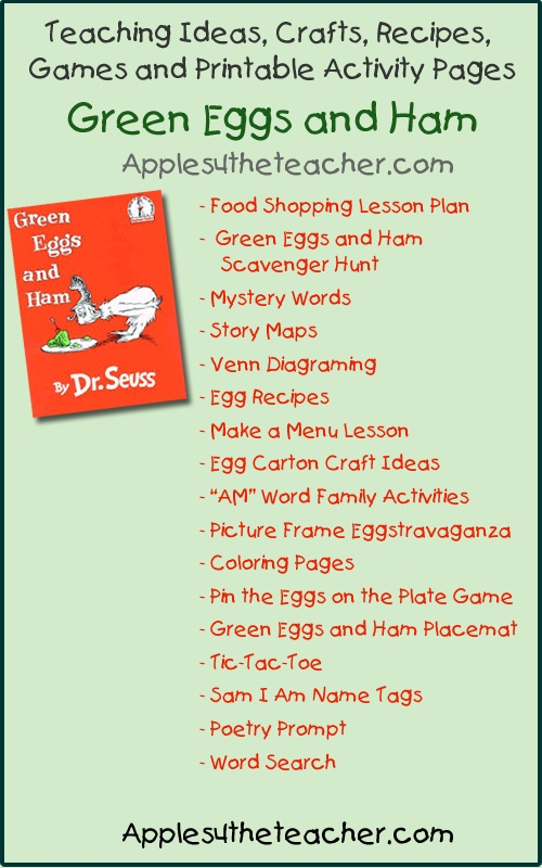Green Eggs And Ham Teaching Ideas Crafts Recipes Games Printable Activity Pages Literacy Lessons Include The AM Word Family Activities