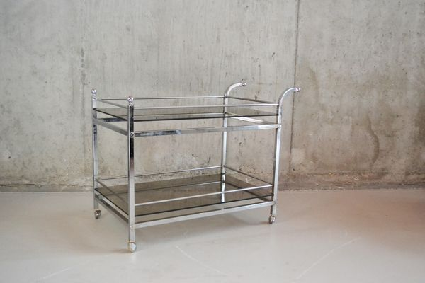 1940's #MidCentury Chrome And Smoked Glass Double Level Trolley | Vinterior London  #vintage
