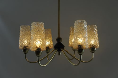 1950s 1960s AMAZING VINTAGE BRASS KAMLAR PENDANT GLASS CEILING LAMP CHANDELIER