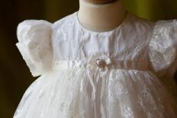 ANGELS + FISHES AMELIE Silk + Lace Christening Gown....click to enlarge