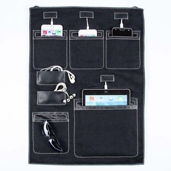 Wally Hanging Wall Organizer for Smartphones, Tablets, and Small Electronics, for all iPhones, Galaxies, iPads. Shown in Black.