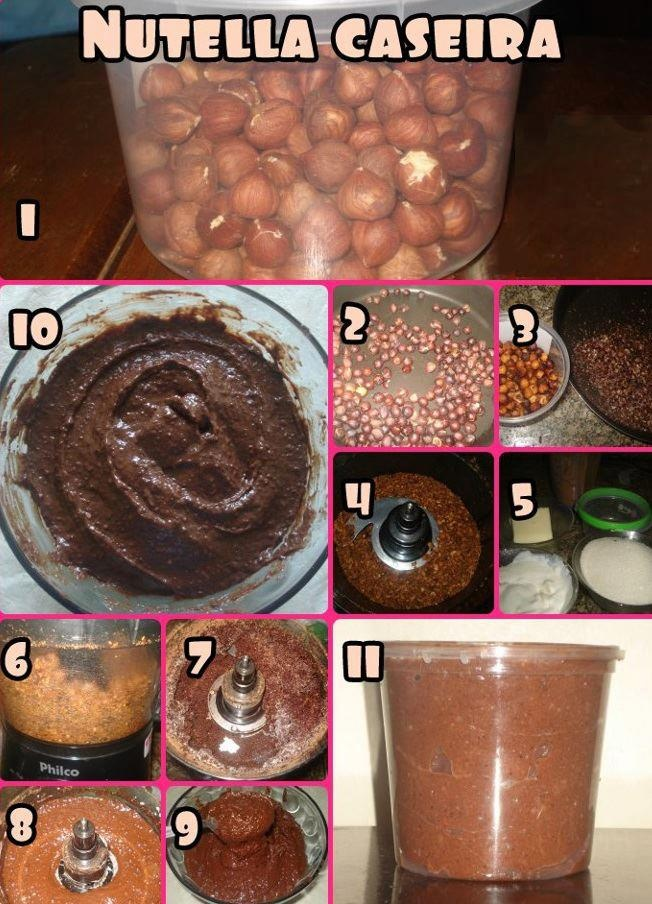 Nutella Caseira  -190g de avelã  -Torrar por 10 minutos em forno baixo  -Descascar as avelãs  -No Processador, moer as avelãs  -Os ingredientes:   1/2 tablete de manteiga  1/4 de xíc de cacau em pó (sem açúcar)  2col de sopa de essência de baunilha  1xíc de creme de leite fresco (deixar 2 horas no congelador)  1xíc de açúcar orgânico  -Bater com as avelãs já trituradas, a manteiga, a essência de baunilha e o açúcar…  -Ir colocando o cacau em pó.  -ir colocando o creme de leite  -Ir a…