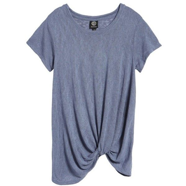 Petite Women's Bobeau Jessica Twist Hem Slub Tee ($23) ❤ liked on Polyvore featuring tops, t-shirts, grey, petite, grey t shirt, grey tee, petite t shirts, gray tees and knotted t shirt