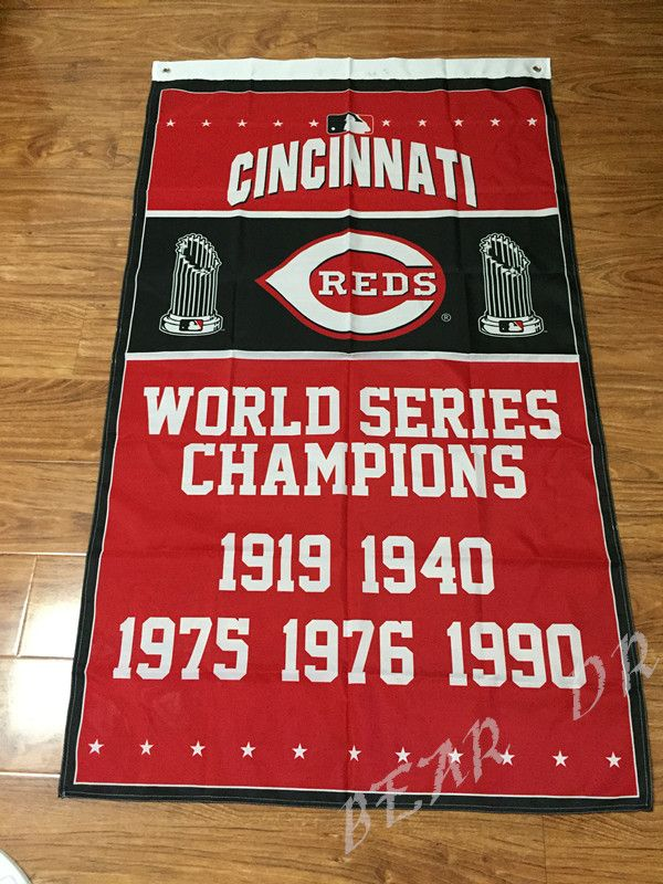 Cincinnati Reds Flag champion banner metal grommets digital print 3X5FT OR 2X3FT two sizes can Choose