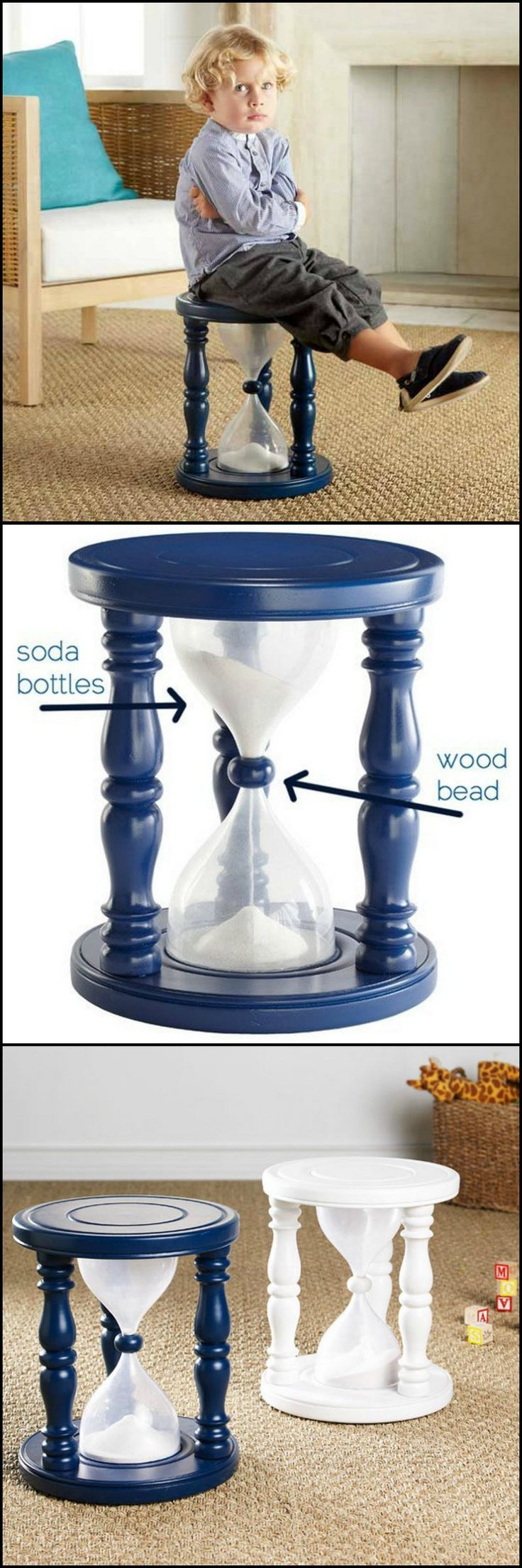 Instead of banishing your children to the dungeon every time they have a hissy fit, why not use this clever 'Time Out Stool'.   http://kids.ideas2live4.com/2015/04/02/make-a-sandglass-time-out-stool-for-the-kids/  You can make one using a recycled plastic bottle.  What do you think?