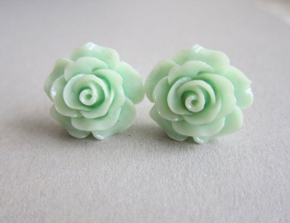 items similar to mint green flower earrings rose floral stud post pastel seafoam light turquoise pale blue mint green romantic wedding bridesmaids bridal on