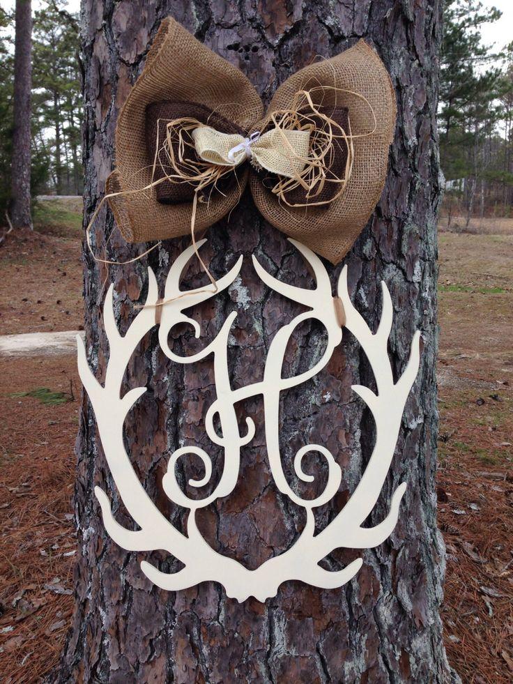 Deer Antler Monogram door hanger,Antler door hanger,Monogram Hunting door hanger, personalized door hanger,Cabin door hanger by Furnitureflipalabama on Etsy
