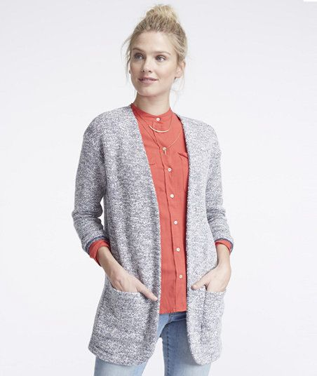 Signature Marled Knit Sweater, Open Cardigan