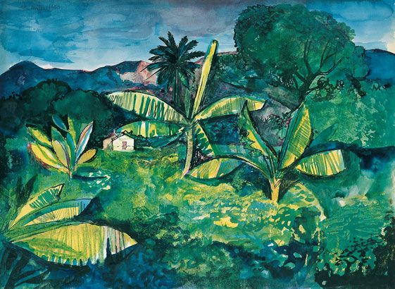 John Minton, Landscape near Kingston, Jamaica, 1950, |Pallant House Gallery (Hussey Bequest, Chichester District Council, 1985) © Royal College of Art