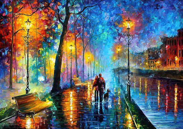Tela Melody of the night pintada à mão por Leonid Afremov 100x75cm pronta entrega.