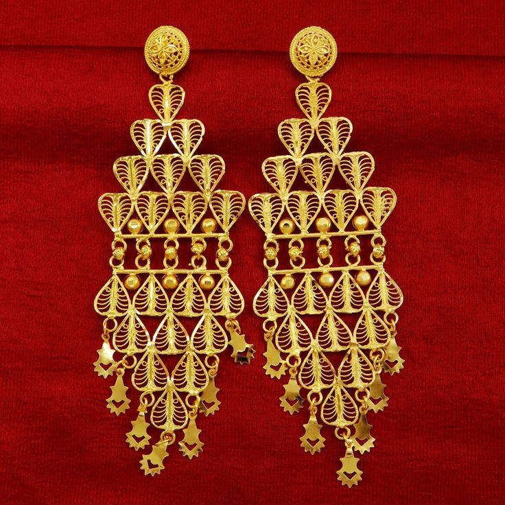"""Designer 18k Gold plated Earring Set With 5.6"""" X 1.7"""" Size"""