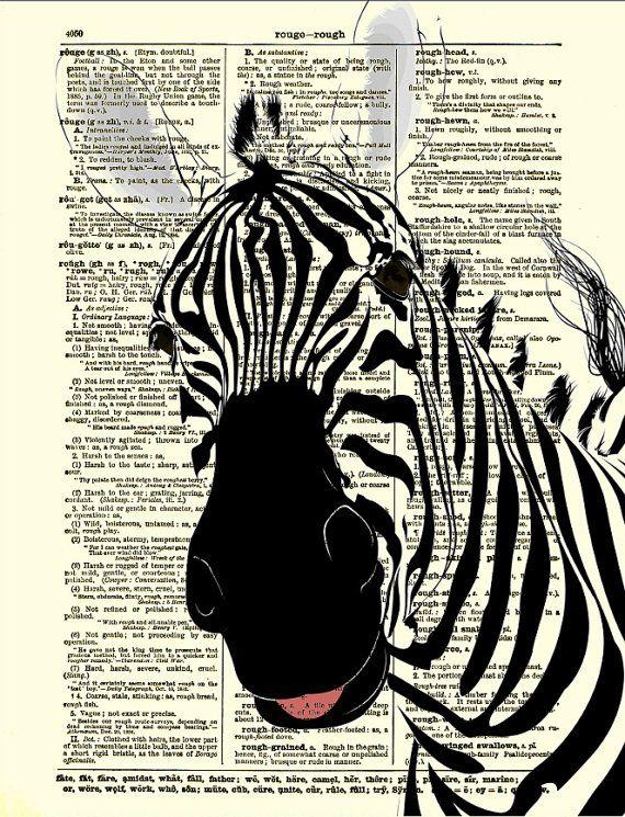 Dictionary Art Print Zebra Print Zebra Art by reimaginationprints, $10.00