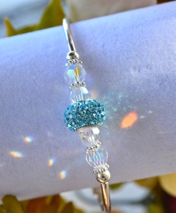 Swarovski Crystal Bead Bangle by OurGardenofBeaden on Etsy, $22.00