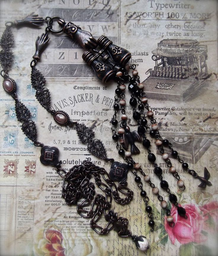 """FUF3/24 """"The Bird Watcher"""", Rusty Iron """"B'Sue by 1928"""" Binoculars with glass and wood rosary beads and plastic cabs. All but the rosary chains B'Sue. MockiDesigns.etsy.com"""