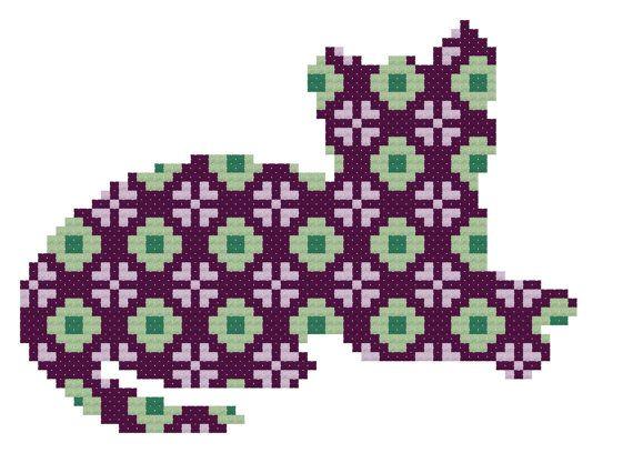 Sitting Floral Geometric Cat Cross Stitch por DoSmallThingsWLove