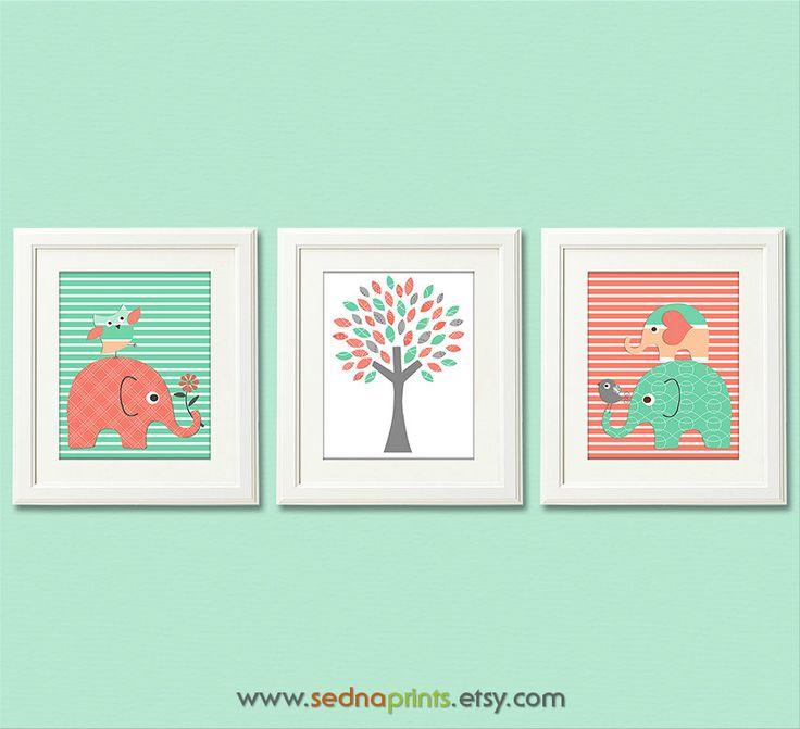 Mint and coral Nursery Art Print Set  8x10  Baby door SednaPrints, $37,50