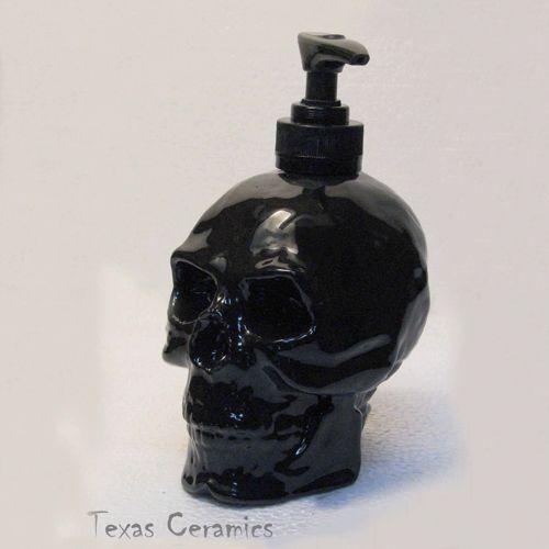 black skull soap pump dispenser bottle ceramic halloween horror decor