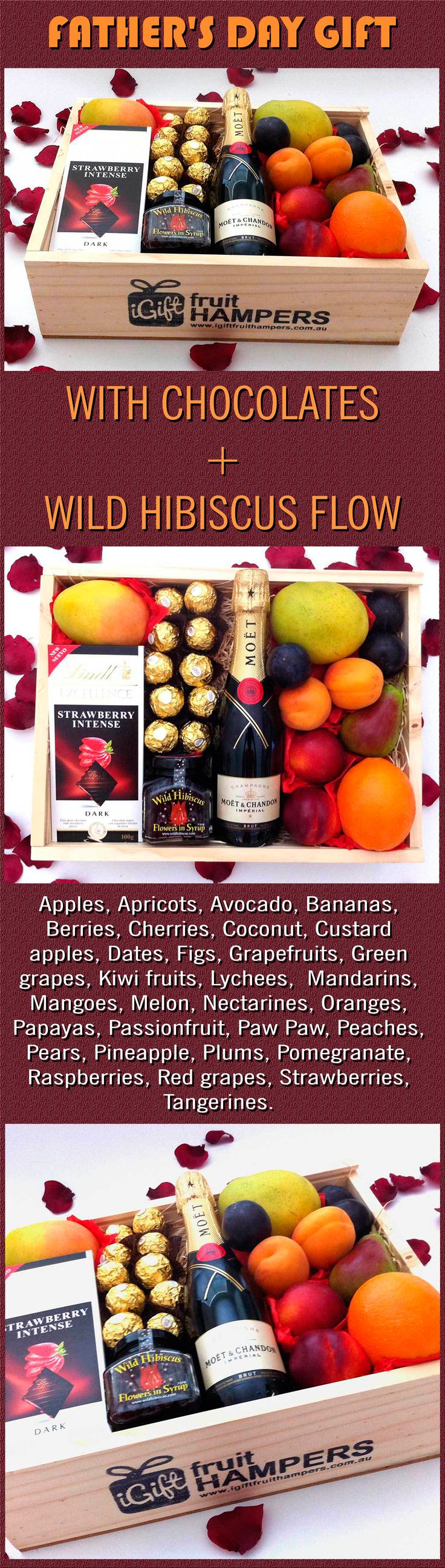 MOET CHANDON PICCOLO 200ML RED GIFT BOX + WILD HIBISCUS FLOWERS + CHOCOLATES  What a beautiful red gift box filled with gourmet delights, this is the perfect gift to send to your Father to wish him a Happy Father's Day. free shipping Australia.  #fathersday #getwell #gifts #occasions