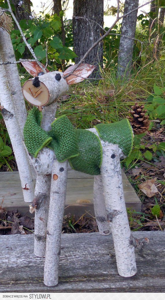 reindeer birch log deer Garden holiday decor by Heaven…