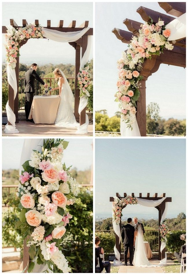 One of our fave weddings ever featured on Confetti Daydreams, this oh-so-dreamy outdoor wedding arch was draped with fabric and flurry of peach pink garden roses, white roses and chic greens. {Floral design: Palos Verdes Florist // Photography Figlewicz Photography// Click to see more of these wedding arch ideas.)