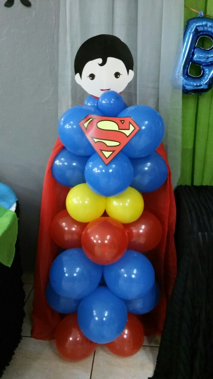 Superman. Balloons Superhero. Noah's 1st birthday party