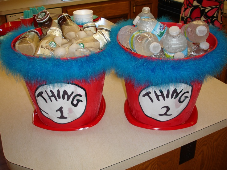 Thing 1 & Thing 2 beverage buckets for a Baby Shower for Twins