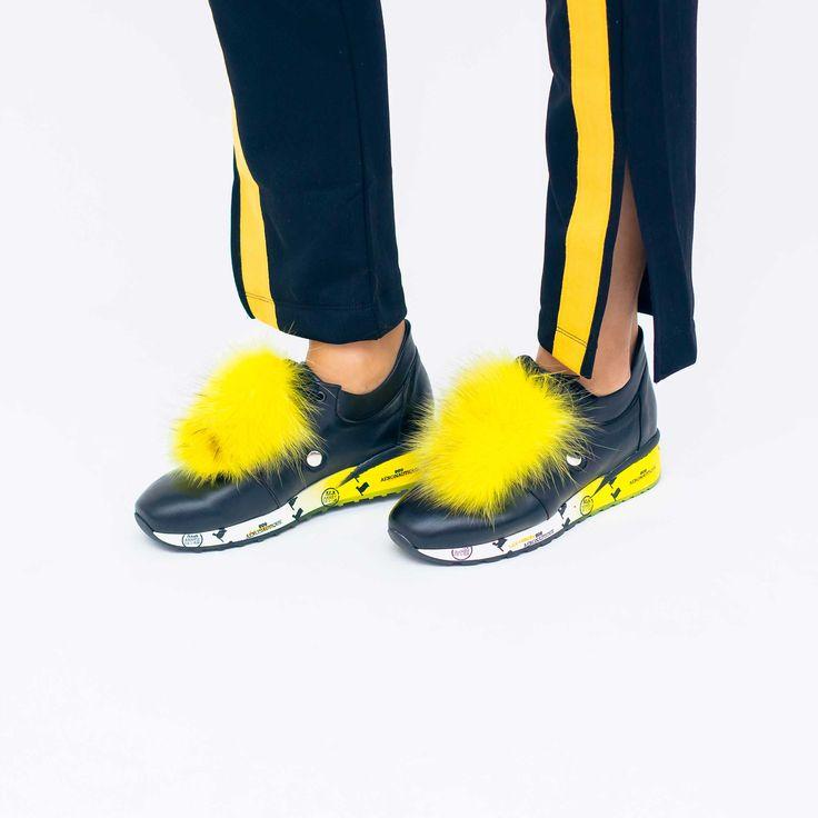 Tenisii de dama Mineli Mad Max Yellow sunt realizați din piele cu accesoriu detașabil din…