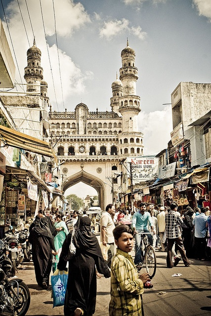 Hyderabad, India with the Charminar monument and mosque in the background