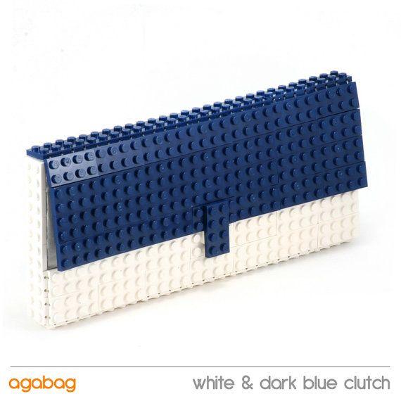 White & dark blue marine clutch made entirely of LEGO by agabag, $120.00