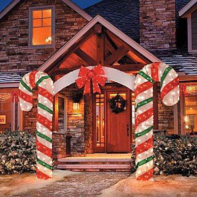 Large Candy Cane Bow Arch Clear Lights Stake Christmas