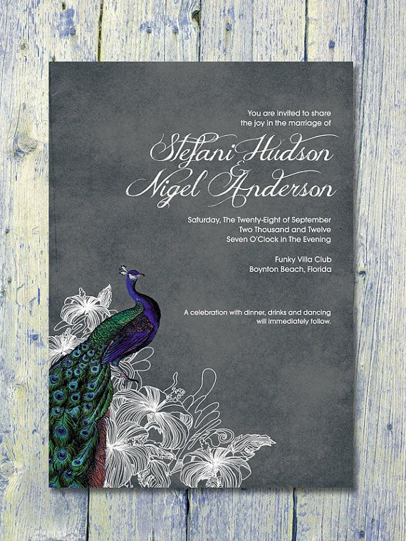 Digital - Printable Files  - Black -Vintage Peacock Wedding Invitation and Reply Card Set - Wedding Stationery - ID15B