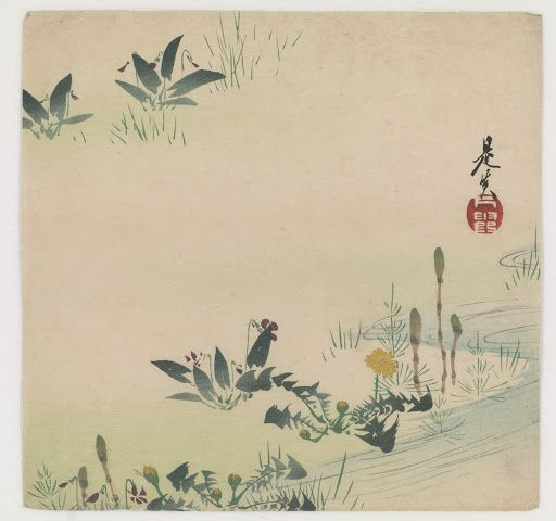 Tsukushi (horsetail), violet and dandelions growing by a stream - Artist: Shibata Zeshin, Publisher: Yoshida Kyubei. Japan. Woodblock print; ink and color on paper. Meiji era