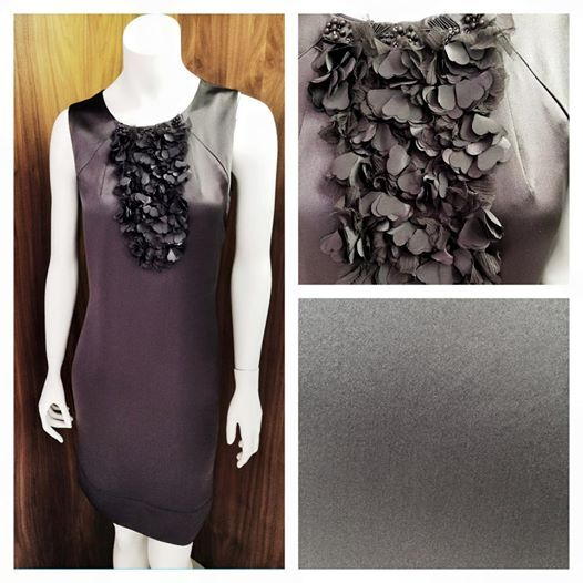 Think the classicly femine & beautiful Audrey Hepburn | This simple yet stated dress sets that perfect mood | 100% silk in gunmetal grey with detatchable bib giving versatility to how you accesorize | A complete stunner for any occassion. Price on request.