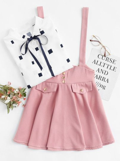 efe71ea4b14 Shop Button Detail Bow Back Pinafore Skirt online. SheIn offers Button  Detail Bow Back Pinafore Skirt   more to fit your fashionable needs.