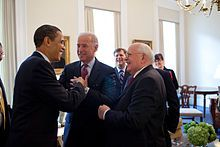 Mikhail Gorbachev - Gorbachev (right) being introduced to Barack Obama by Joe Biden, 20 March 2009 Wikipedia, the free encyclopedia