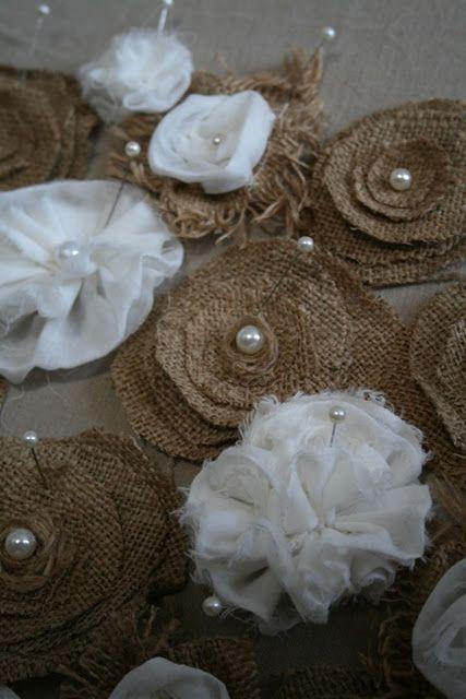 burlap flowers...I wish I could sew.