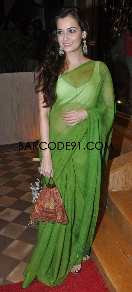 http://www.barcode91.com/ Dia Mirza keeping it simple in a green saree at the store launch of Queenie Singh's Store launch.