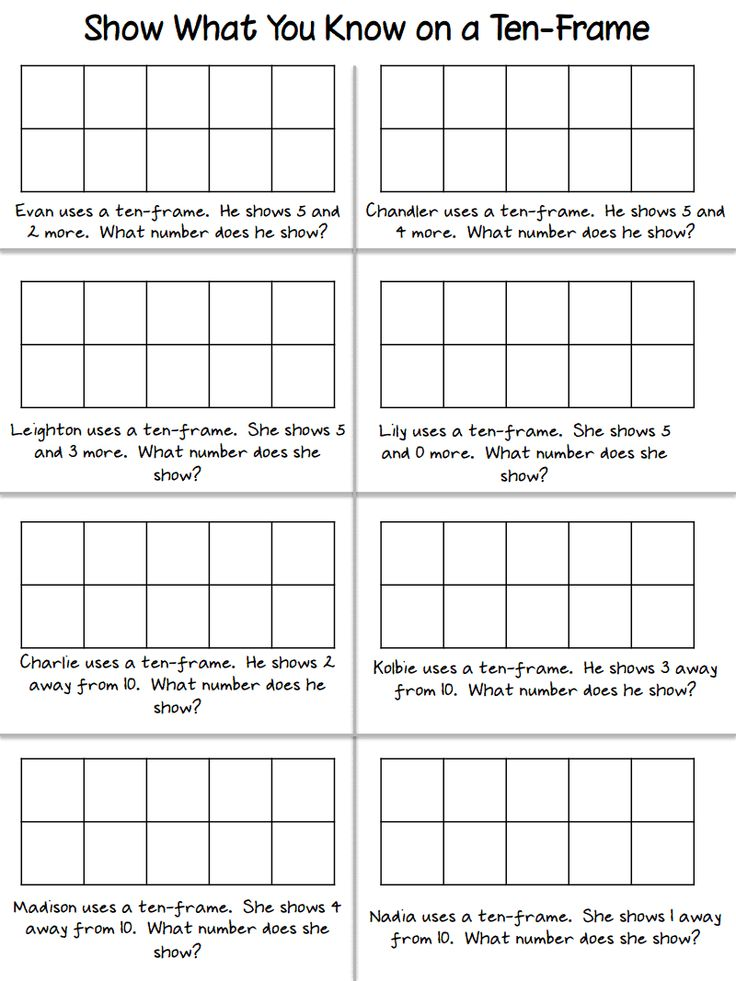 heres a page for showing number combinations on a ten frame