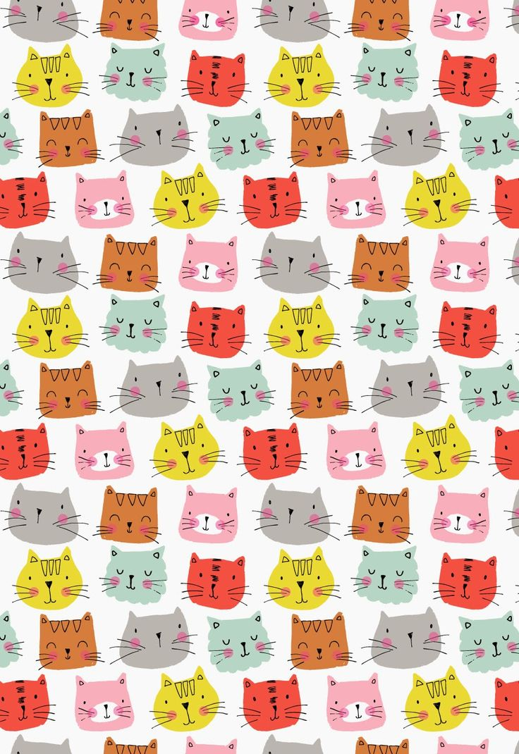 Rowed cartoon cat prints using bright colours such as yellow, pink, orange, red, blue and grey. these cats stand out as they are on a plane white background. It is also very cute as all the different coloured cats have different faces.