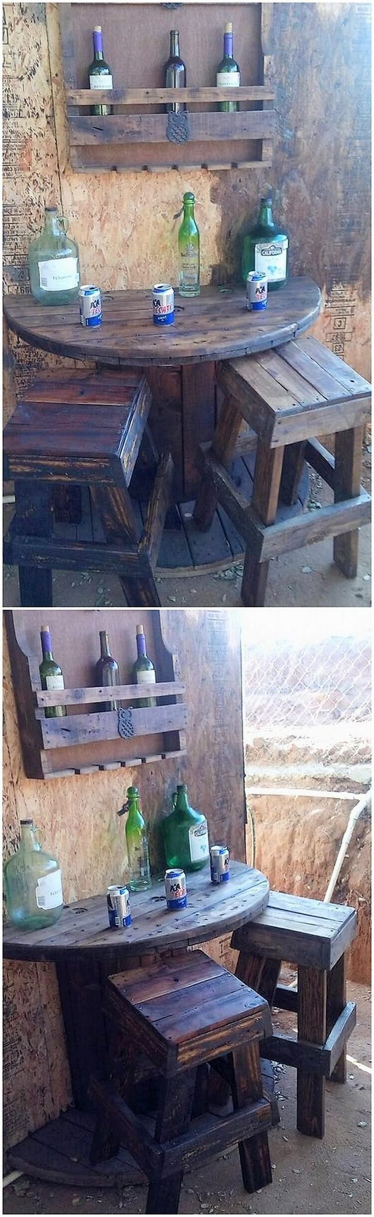 This is such a beautiful creation of the wood pallet where you will be catching the amazing view appearance of the wine rack. This wine rack creation is accompanied with the trendy look that makes it a complete impact on top of the wine counter area of the house.