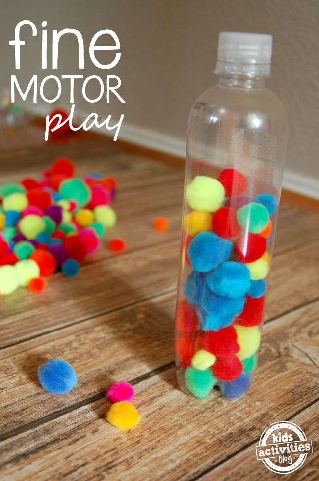 Pom-pom play ideas: Ask your child to put all of the yellow pom-poms in the bottle first. Or ask her to put two pom-poms in at a time. When is the bottle half full?