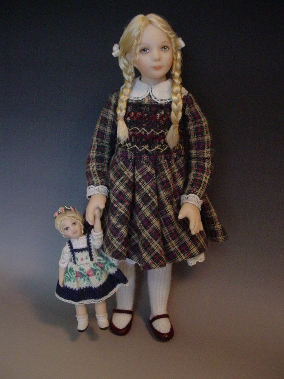 1:12 scale Dollhouse Doll With Her Heidi Dolly - by Debbie Dixon Paver