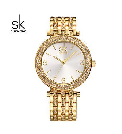 SK Brand New Fashion-Zegarek Kwarcowy Kobiety Zegarki 2016 Luksusowe Złoty Kryształ Damski Zegarek zegarek kobiety relogio Montre Femme 011