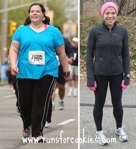 """Someone says: """"OMG I am ready to loss 20 more lbs!     Pretty much the only blog I actually follow daily... Runs for Cookies.  So inspiring!  Because of her, I started running in Jan 2012.  I've completed C25K and run two 5K races since then."""""""
