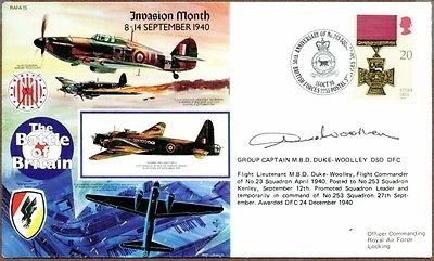 R. M. B. Duke-Woolley British WWII Air Ace Signed Cover, COA. Is Autographed?: 1. His signature on a 50th anniversary commemorative postal cover of the Battle of Britain. Raymond Miles Beecham Duke-Woolley was a Group Captain in the Royal Air Force during World War II, including the Battle of Britain. Pages of History provides a lifetime guarantee of authenticity. He was a British Air Ace credited on various lists with either 5 or 7 aerial victories. We are full time autograph and...